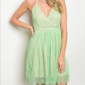 Mint and Taupe Lace Overlay Halter Mini Dress